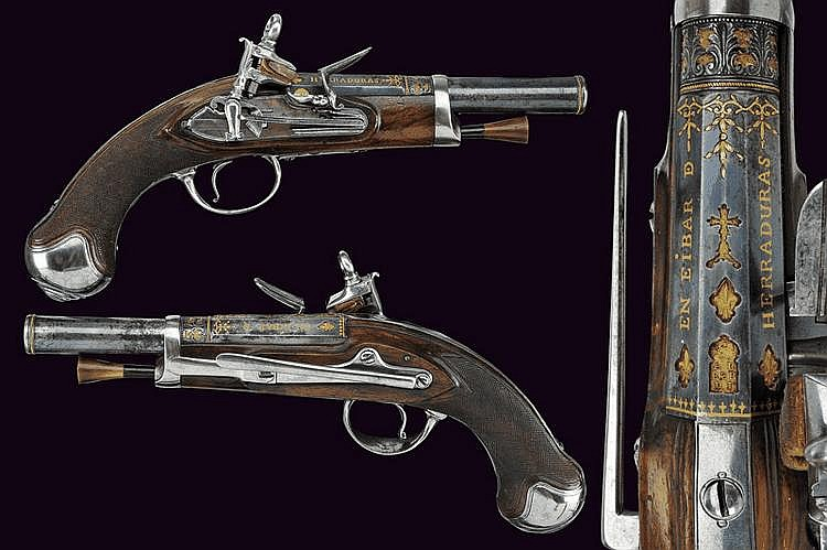 A beautiful pair of flintlock pistols by Alberdi