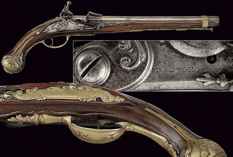 A flintlock pistol by Giovan Battista Zugno