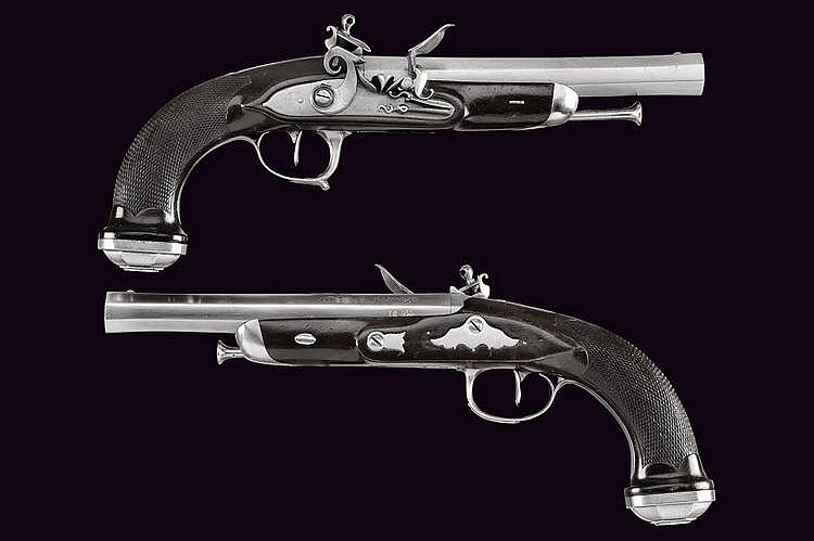 A fine pair of officer's flintlock pistols by Lepage