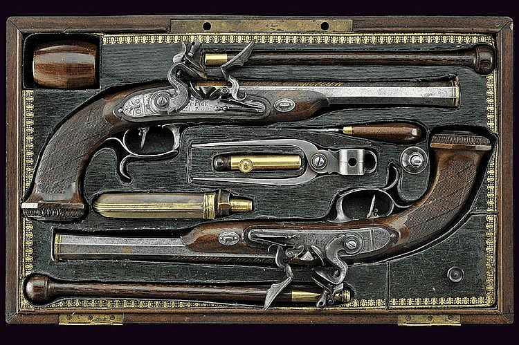 An important pair of cased flintlock pistols by Le Page