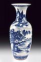 A porcelain vase with underglaze blue decorations