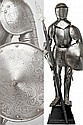 A engraved miniature armor with shield and halberd