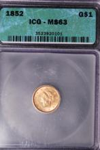 1852 (ty1) $1 Gold Liberty Dollar - ICG MS63
