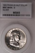 1959-D Franklin Half Dollar - PCC MS65