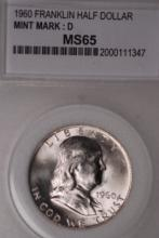 1960-D Franklin Half Dollar- PCC MS65