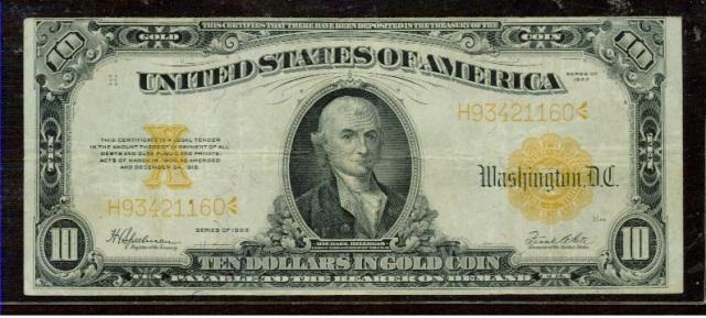 1922 $10 Gold Certificate - Fr 1173