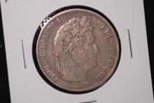 1835-B France Silver 5 Franc Crown-VF
