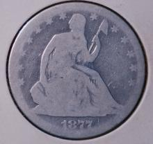 1877 Seated Liberty Half Dollar- AG Details