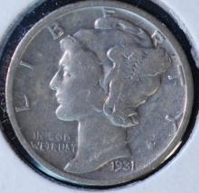 1931-S Mercury Dime - F