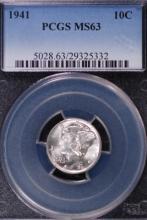 1941 Mercury Silver Dime - PCGS MS63