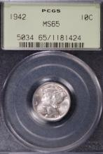 1942 Mercury Silver Dime - PCGS MS65