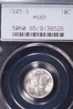 1945-S Mercury Silver Dime - PCGS