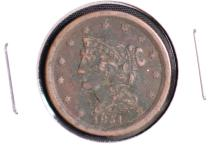 1851 Braided Hair Half Cent - VG
