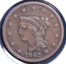 1842 Braided Hair Large Cent - F