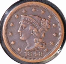 1848 Braided Hair Large Cent - XF