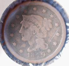 1849 Braided Hair Large Cent - VG