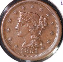 1851 Braided Hair Large Cent - UNC