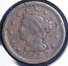 1852 Braided Hair Large Cent - VG