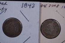 1842 & 1875S Seated Liberty Dime Lot