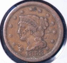 1853 Braided Hair Large Cent - VF