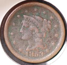 1853 Braided Hair Large Cent - F