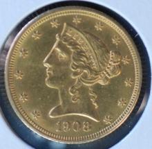 1908 $5 Gold Liberty Half Eagle - BU