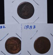1880, 1882 & 1883 Indian Head Cent Lot