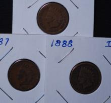 1885, 1887 & 1888 Indian Head Cent Lot