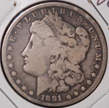 1891-CC Morgan Silver Dollar- VG