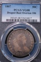 1807 Draped Bust Half Dollar- PCGS VG08