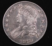 1828 (knob 2) Capped Bust Half Dollar- AU Details