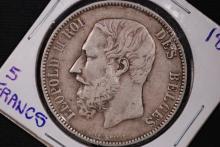 1873 Belgium Silver 5 Francs -VF