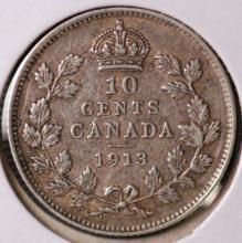 1913 Canada Silver 10c piece - VG