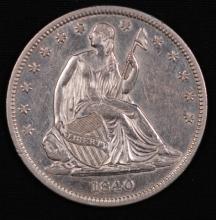 1840 Seated Liberty Half Dollar- AU