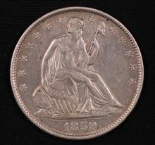 1859-O Seated Liberty Half Dollar- XF
