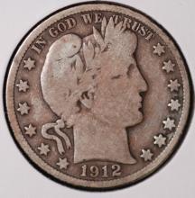 1912-S Barber Half Dollar- VG