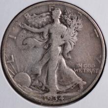 1934-S Walking Liberty Half Dollar- F