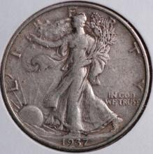 1937 Walking Liberty Half Dollar- XF