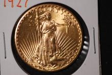 1927 $20 Gold St Gaudens Double Eagle-CH BU