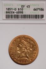 1851-O $10 Gold Liberty Eagle - ANACS EF45