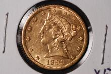 1891-CC $5 Gold Liberty Half Eagle - XF