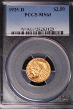 1925-D $2-/12 Gold Indian Quarter Eagle-PCGS MS63