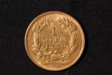1854 (ty2) $1 Gold Indian Princess Coin-AU