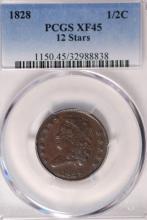 1828 Classic Half Cent - PCGS XF45