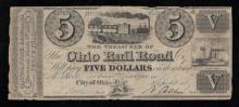 1840 $5 Ohio Rail Road Obsolete Note-F