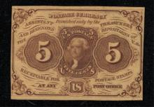 1862 5c Postage Currency Fractional - AU+