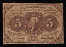1862 First Issue 5c Postage Currency Fractional