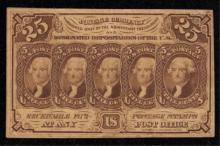 1862 First Issue 25c Postage Currency Fractional