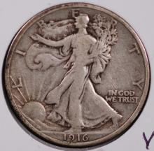 1916 Walking Liberty Half Dollar - VF