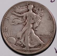 1919-D Walking Liberty Half Dollar- VF